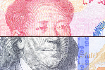 Trade war / trade tension between US and China, financial concept : Notes of USA and China with portrait of President B Franklin and Mao Zedong, depicts trade conflict between Washington and Beijing