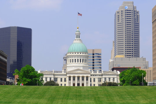 ST. LOUIS - May 19: The Old Courthouse seen from the Jefferson National Expansion Memorial near the Gateway Arch, on May 19, 2013. The Old Courthouse site of the Dred Scott Decision was built in 1864.
