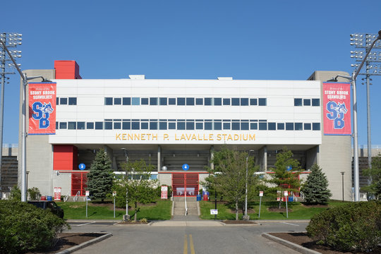 STONY BROOK, NY - MAY 4, 2015: LaValle Stadium. Kenneth P. LaValle Stadium is home of the Stony Brook Seawolves football, soccer, and lacrosse teams.