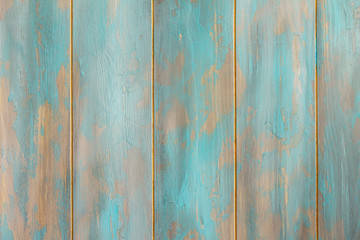 Wooden vintage background, space for design. Blue pastel wooden texture empty horizontal surface.