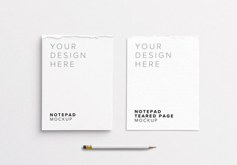 Notepad with Torn Page and Pencil Mockup