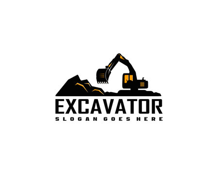 Excavator logo template vector. Heavy equipment logo vector for construction company.