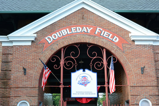COOPERSTOWN, NEW YORK - SEPT 28, 2018: Doubleday Field is named for Abner Doubleday and located two village blocks from the National Baseball Hall of Fame and Museum.