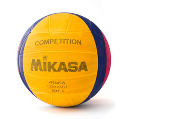 Mikasa water polo ball isolated on the white background. Mikasa is a Japanese sports equipment company founded at 1917