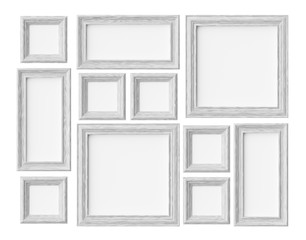 White wood photo or picture frames isolated on white with shadow