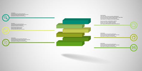3D illustration infographic template with embossed cube divided to six shifted parts