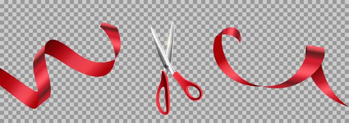 Red scissors cut ribbon realistic illustration Wall mural
