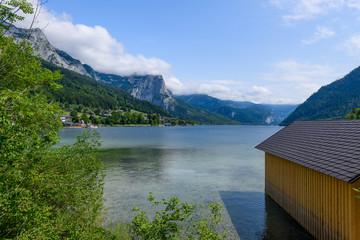 view to lake grundlsee, salzkammergut, austria