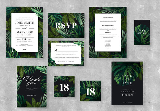 Wedding Suite Layouts with Illustrative Tropical Leaves