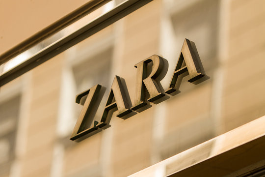 Zara sign in Madrid. Zara is Spanish clothing and accessories retailer.