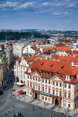 Prague Czech Republic. Aerial view of old town. Kinsky Palace