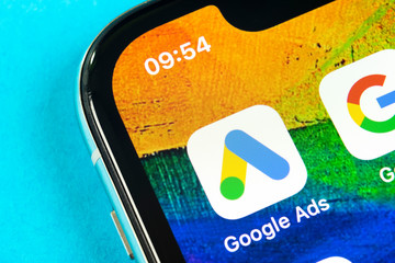Helsinki, Finland, May 4, 2019: Google Ads AdWords application icon on Apple iPhone X screen close-up. Google Ad Words icon. Google ads Adwords application. Social media network