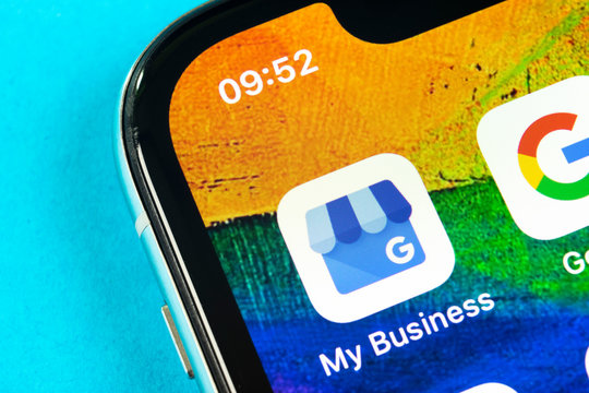 Helsinki, Finland, May 4, 2019: Google My Business application icon on Apple iPhone X screen close-up. Google My Business icon. Google My business application. Social media network