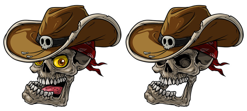 Cartoon detailed realistic colorful scary human cowboy skulls with leather hat and bandana. Isolated on white background. Vector icon set.