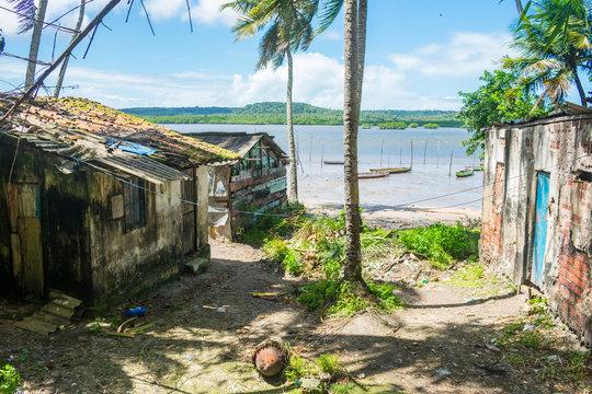 Fishermen's shacks by the water in Itapissuma - Pernambuco, Brazil