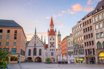 Wall Mural - Old Town Hall at Marienplatz Square in Munich