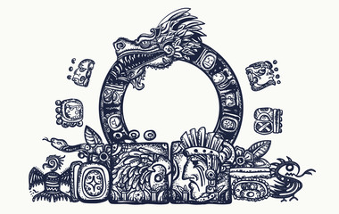 Ancient Maya Civilization.  Kukulkan. Feathered Serpent and glyphs. Quetzalcoatl. Mesoamerican mexico mythology. Tattoo and t-shirt design. Chichen Itza statues