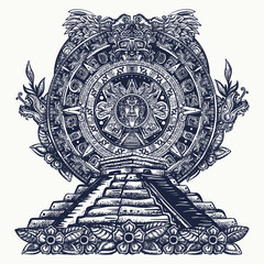Aztec sun stone and pyramids Chichen Itzá and Kukulkan god (Feathered serpent). Quetzalcoatl. Mesoamerican mexico mythology and culture.Mayan calendar and ncient glyphs