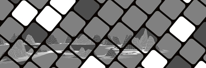 new black mosaic cubes gray and white with polygonal mountains