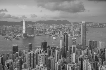 Wall Mural - Panoramic view of Victoria Harbor and Hong Kong skyline