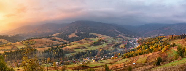 Colorful autumn panorama landscape in the mountain village