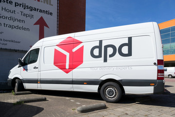 AMSTERDAM, THE NETHERLANDS - JULY 4, 2019: DPD delivery van. DPDgroup is the international parcel delivery network of French state owned postal service, La Poste.