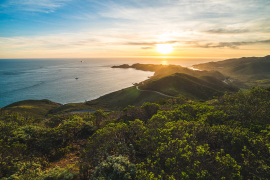 Beautiful scenic sunset view over Marin Headlands and the Pacific Ocean near San Francisco, California, USA