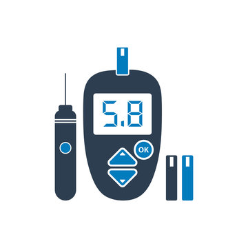 Glucose meter icon with lancet pen symbol. Flat style vector EPS.