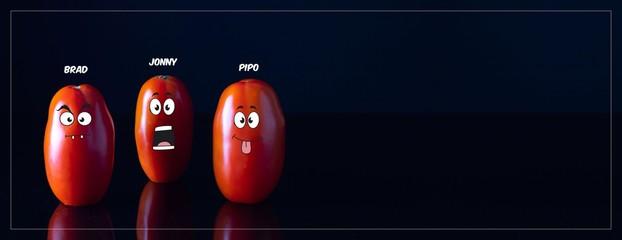Os três tomates italianos mais engraçados do Adobe Stock sobre o fundo preto - Tomate Italiano engraçado