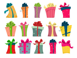 A large set of gift boxes with a ribbon in different shapes. Vector isolates on a white background in cartoon style.