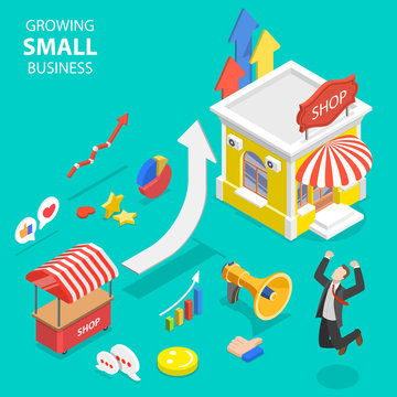Isometric flat vector concept of small business growth, marketing strategy, advertising campaign, business in investing.