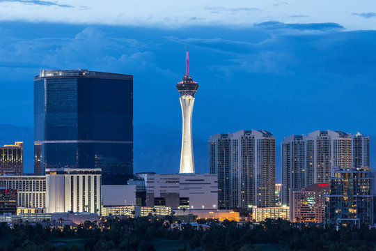 Dusk view of the Stratosphere tower on the Las Vegas Strip on June 10, 2015 in Las Vegas, Nevada, USA.