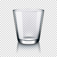 Realistic transparent empty drinking glass, isolated.