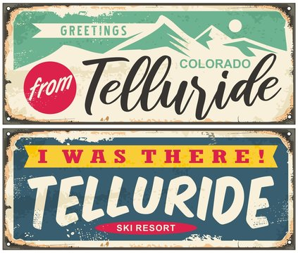 Telluride Colorado retro greeting cards design set. Vintage travel signs for winter holidays. Ski resorts vector illustration.