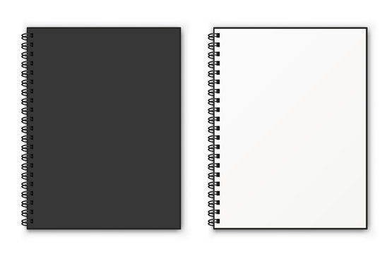 Notebook spiral mockup. Realistic vector