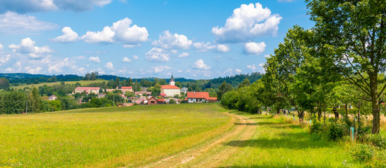 Poster Blauw Rural summer landscape with green meadow, blue sky and white clouds. Jistebnice, South Bohemia, Czech Republic