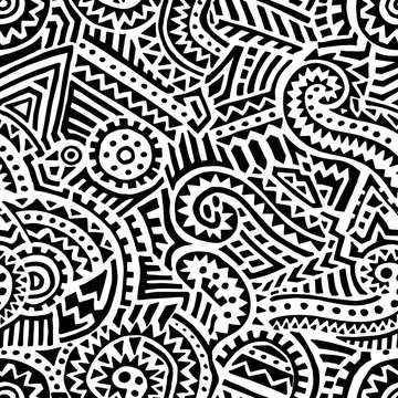 Black and white tribal pattern. Ethnic and aztec motifs. Bohemian print for textiles. Vector illustration.