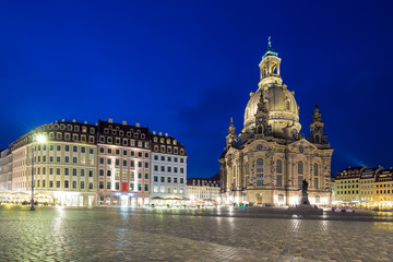 Neumarkt and Frauenkirche at night in Dresden, Germany
