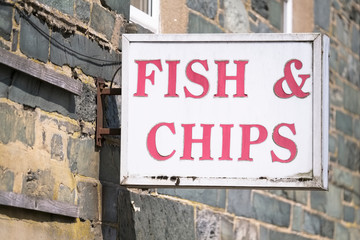 Fish and chips vintage retro sign Fototapete