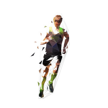 Runner, front view isolated polygonal vector illustration, abstract geometric drawing of marathon runner in orange shirt