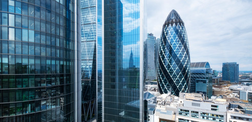 Deurstickers London London skyline, office buildings in the city financial business district
