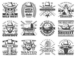 Wild West icons of cowboy, skull, sheriff, bandit
