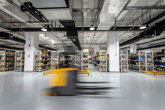 Modern automation of warehouse production in China.