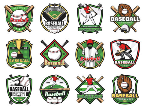 Baseball sport balls, bats, players, stadium field