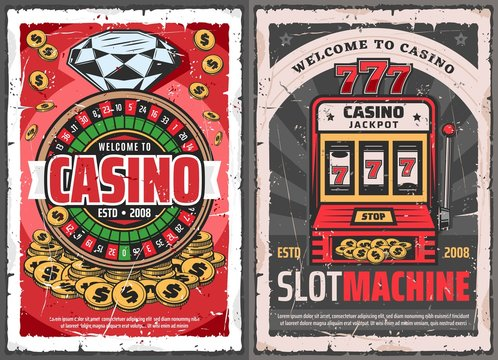 Casino roulette, slot machine and golden coins