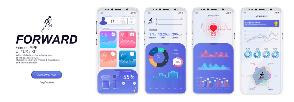 Fitness App Screens, UI, UX, KIT, GUI in flat style. Mock up mobile app. Fitness application design. designing responsive websites. Smartphone, mobile app template with charts and infographics.
