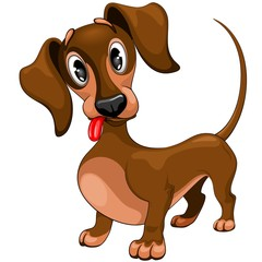 Spoed Fotobehang Draw Dachshund Cute Confused Puppy Dog Cartoon Character Vector Illustration