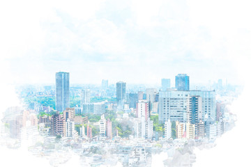 東京風景 Tokyo city skyline , Japan. Illustration of watercolor painting style. Fototapete