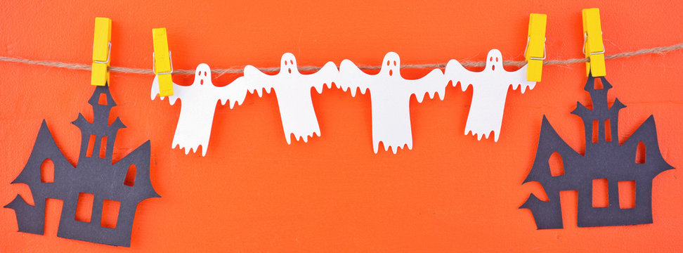 Halloween Bunting Garland Social Media Banner sized to fit a popular social media cover image placeholder.
