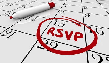 RSVP Date Day Circled Calendar Reserve Event Party Response 3d Illustration